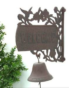 Cloche de porte d entree sonnette murale en fonte marron de potillon portail ebay for Cloche de porte d entree