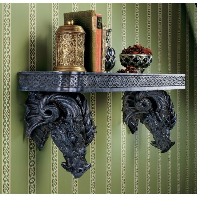 Twin Dragon Head Statues, Wall Shelf . In Home Gothic Medieval Products & Gifts.