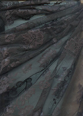 "3 yds x 18-22"" Sheer Black Fine Bridal Wedding Veil Crafts Hat Lace Tulle E32"