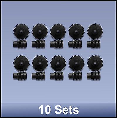 34:1  PRECISION MOULDED PUSH-FIT WORM GEAR SET - 10 pieces