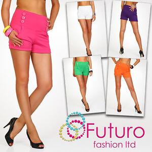 Elegant-High-Waist-Women-039-s-Shorts-Trousers-Multicolours-Girls-Sizes-UK-8-16-PA08