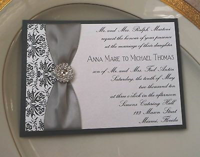 Custom Wedding Invitation - Black Damask & Rhinestone