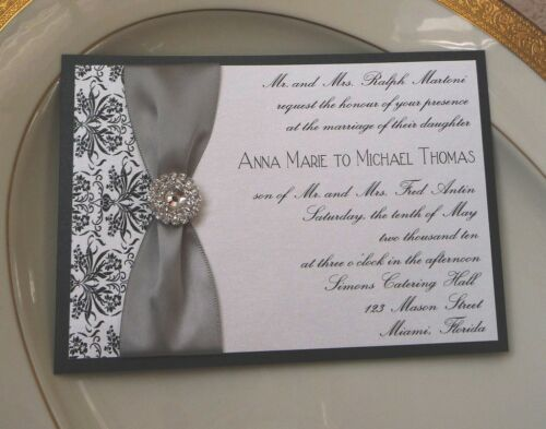 Custom Wedding Invitation - Black Damask & Rhinestone