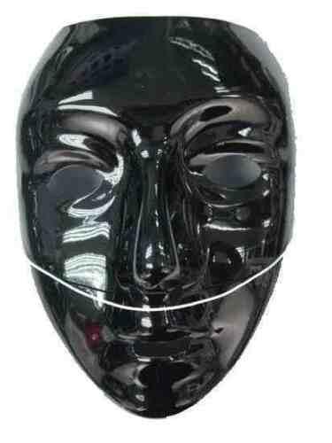 6x Plain black plastic masks, jabbawokeez style dance troop job lot halloween