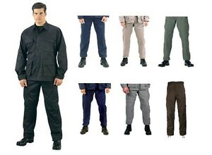 Military-Type-BDU-Pants-Army-Cargo-Fatigue-Solid-Colors