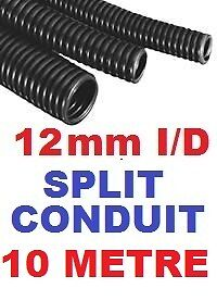 12MM SPLIT CONVOLUTED CONDUIT SLEEVE TUBE CABLE WIRE HARNESS 10 METRES 10M.