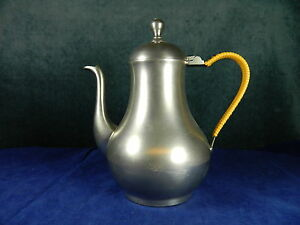 VINTAGE-ZTI-PEWTER-COFFEE-POT-VERY-HEAVY-1-8-THICK-SIDEWALLS-EXCELLENT