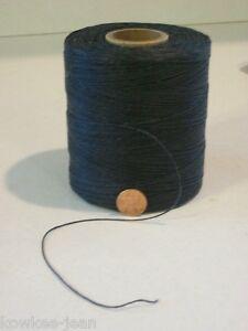 waxed LINEN lacing 4-ply cord rug braiding weaving twine thread BLACK 850yds 1#