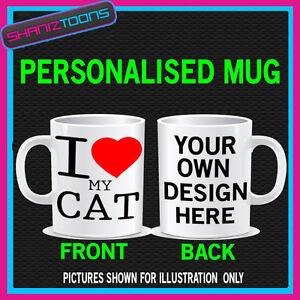 I LOVE HEART MY CAT MUG PERSONALISED DESIGN