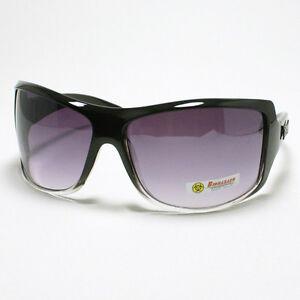 BIOHAZARD-WRAP-Around-Style-Men-039-s-Oversized-Sunglasses-BLACK-Clear-2-Tone-Color