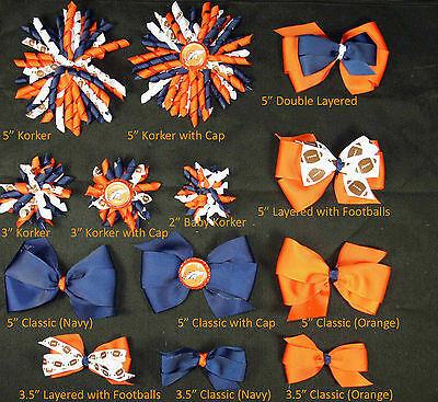 Denver Broncos Themed Hair Bows Korkers Classic Bottle Caps U-Pick