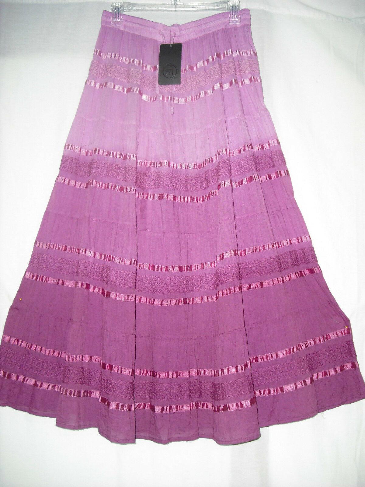 Long Skirt Sacred Threads Embroider  Tiered Cotton NWT pink 212836 One Size