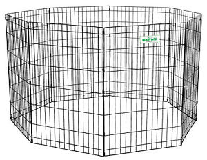 EliteField-Black-36-034-Exercise-Pen-Dog-Crate-Cage-with-8-FREE-Ground-Anchors