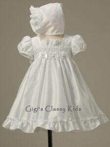 NEW-BABY-GIRLS-CHRISTENING-GOWN-BAPTISM-DRESS-3-6-M-W-BONNET-DEDICATION-WHITE