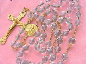 ANTIQUE-SACRED-HEART-JESUS-18K-INRI-CRUCIFIX-CLEAR-GLASS-BEAD-ROSARY-1930