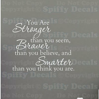 YOU ARE STRONGER BRAVER SMARTER Quote Vinyl Wall Decal WINNIE THE POOH ROBIN