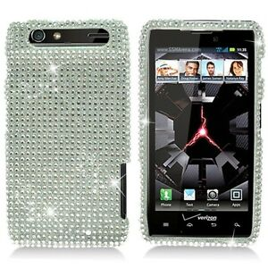 For-Motorola-DROID-RAZR-Crystal-Diamond-BLING-Hard-Case-Phone-Cover-Silver