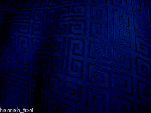 NAVY BLUE HERRINGBONE EMBROIDERED PURE SILK FABRIC by Y