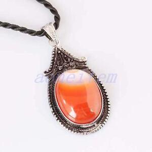 Retro-Stripe-Carnelian-Agate-Gemstone-GEM-Oval-Bead-Pendant-Charm-Fit-Necklace