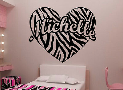 Personalized Zebra Print Heart Custom Name Vinyl Wall Decal Sticker