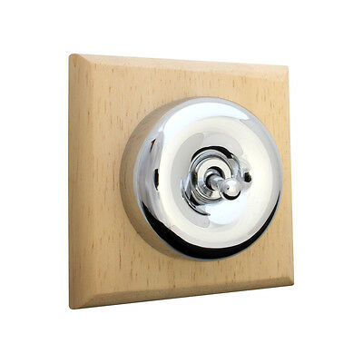1 Gang 2 Way Pol. Chrome Byron Dolly (Toggle) Switch on Wooden Plinth