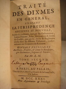 ANCIEN-LIVRE-TRAITE-DES-DIXMES-SUIVANT-LA-JURISPRUDENCE-TOME-SECOND-1731