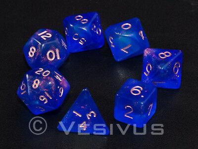 DICE Gaming FIRE OPAL BLUE Translucent 7 pc d20 d6 OOP Out-of-Print Sparkle D&D