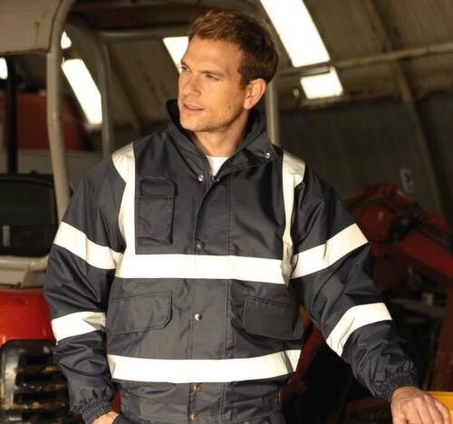 HI VIS BOMBER Riflettente Workwear Lavoro Cappotto Hi Viz con Cappuccio Alta Visibilità