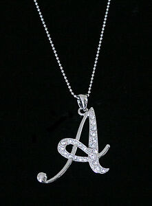 A letter initial alphabet pendant charm necklace clear crystals image is loading 034 a 034 letter initial alphabet pendant charm aloadofball Gallery