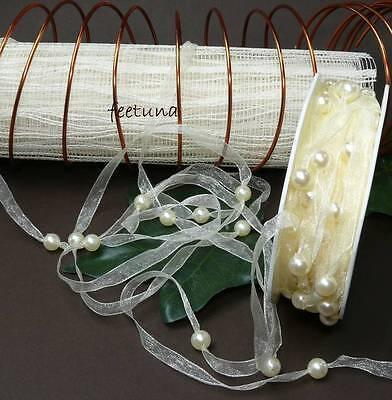 2m Organza - Perlenband (0,60 €/m) Perlen creme Shabby Band Hochzeit Kopfschmuck