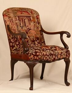 Late-19th-Century-Georgian-Revival-Tapestry-Upholstered-Carved-Antique-Arm-Chair
