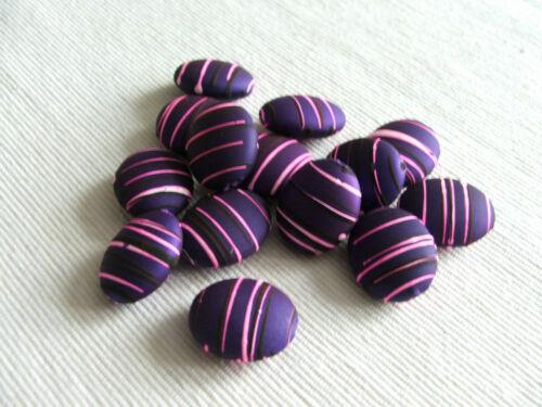 drawbench MEDIUM flat oval 24x20mm 10x Rubberized satin acrylic beads