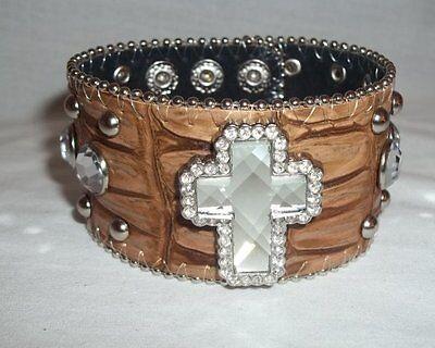 BHW Brand Brown Leatherette RHINESTONE Cross Western Bracelet