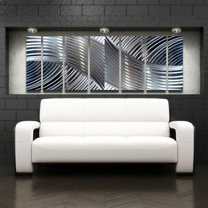 Modern design abstract metal wall art contempory home for Modern silver home accessories