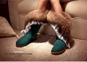 Womens-Luxury-Genuine-Leather-Rabbit-amp-Fox-Fur-Mid-Calf-Winter-Ankle-Snow-Boots