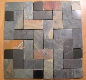 Slate Herringbone Granite Mosaic Tiles Floors Walls