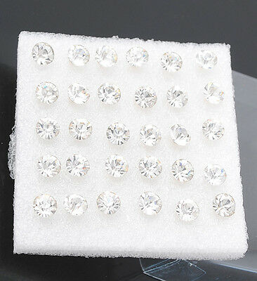15Pairs Crystal Earring Stud Wholesale Pack Clear Color Lot 6mm Upick