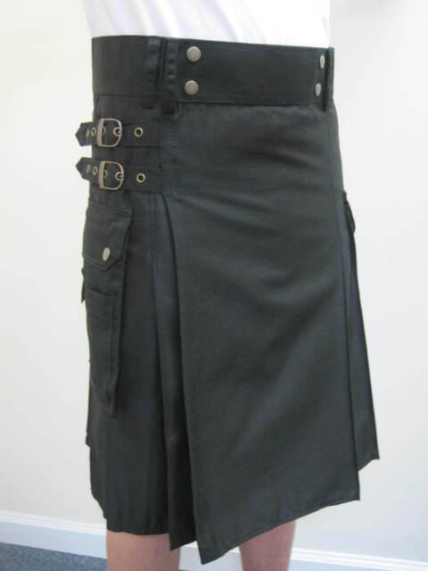 NEW BLACK UTILITY CARGO MODERN  Kilt Waist Sizes 30 - 52