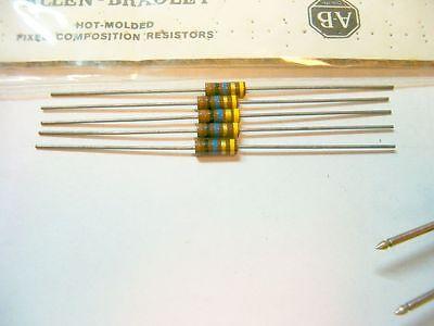 5 Allen Bradley Carbon Comp Resistor 10 meg  RCR 1/2W 5%