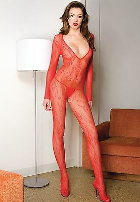 Red Blk or Wht Long Sleeve DeepV Lace Body Stocking Sexy Designer Lingerie P1085