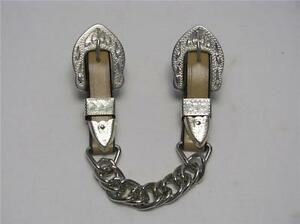 FANCY WESTERN LEATHER HORSE CURB CHAIN STRAP SILVER TIPS GREAT WITH SHOW BRIDLE