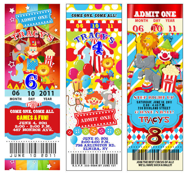 40 Circus Carnival Vintage TICKET Birthday Invitations Perforated Clown