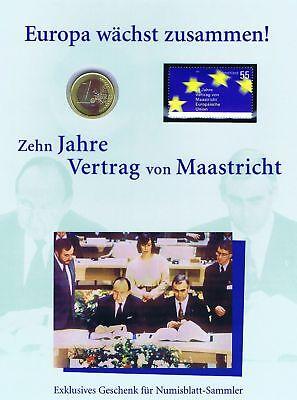 Brd 2004: Maastricht-vertrag! Numisblatt Mit 1-euro-münze + Nr. 2373 Pf.! 1906 Reisen