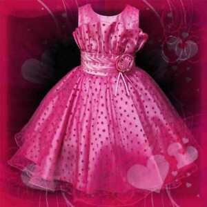Hot Pinks Christmas Party Flower Girls Pageant Dresses