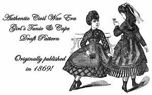 Civil-War-Victorian-Girls-Tunic-Cape-Draft-Pattern-1869