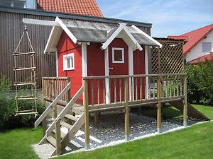 Kinderspielhaus Bauplan Spielhaus Stelzenhaus Terrasse ... Kinder Spielhaus Garten