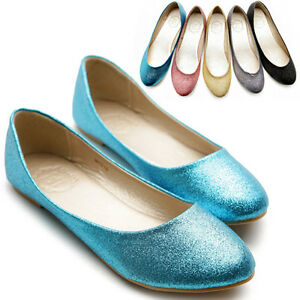New-Womens-Ballet-Flat-Loafers-Cute-Comfort-Glitter-Low-Heels-Multi-Color-Shoes