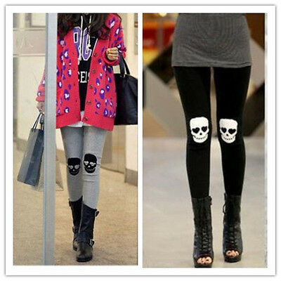 Womens Fashion Skull Knee Pants Skinny Leggings Stretch Cotton Slim Trousers