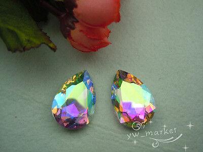 50 PCS 20mm x 30mm Glass Clear/AB Tear Drop Faceted Glass Jewels