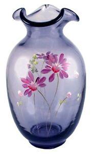 Fenton-Art-Glass-Pink-Daisies-on-Hyacinth-Tall-Vase